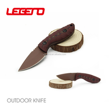 HK101 New design titanium coating fixed blade mini tactical neck knife outdoor survival hunting knife with G-10 handle