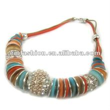 2012 fashion costume jewelry colorfull shell big pearl crystal ball necklace