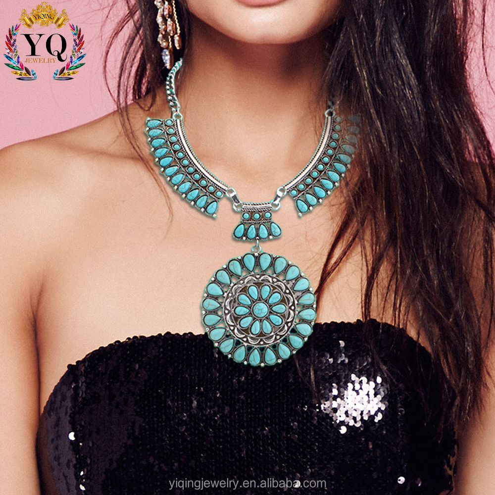 NYQ-00023 turquoise new flower design pendant hamsa statement necklace for party gift