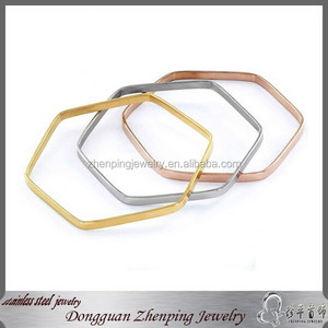 Hexagon stainless steel gold bangles models
