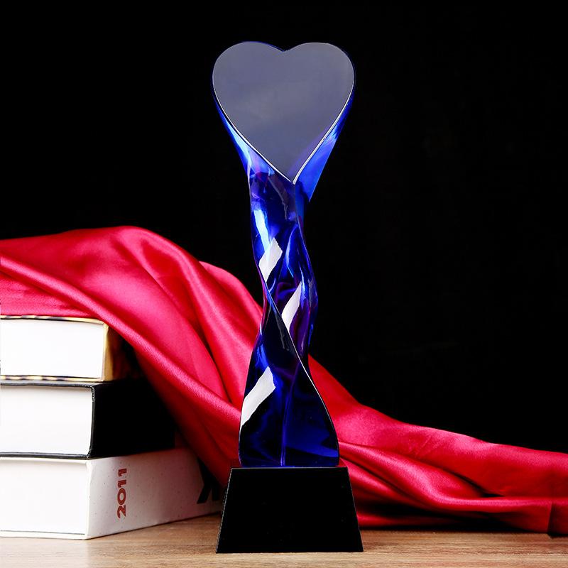 DL Free Design Hot Sale Customized Heart love star twist column crystal trophy prism crystal awards and medal