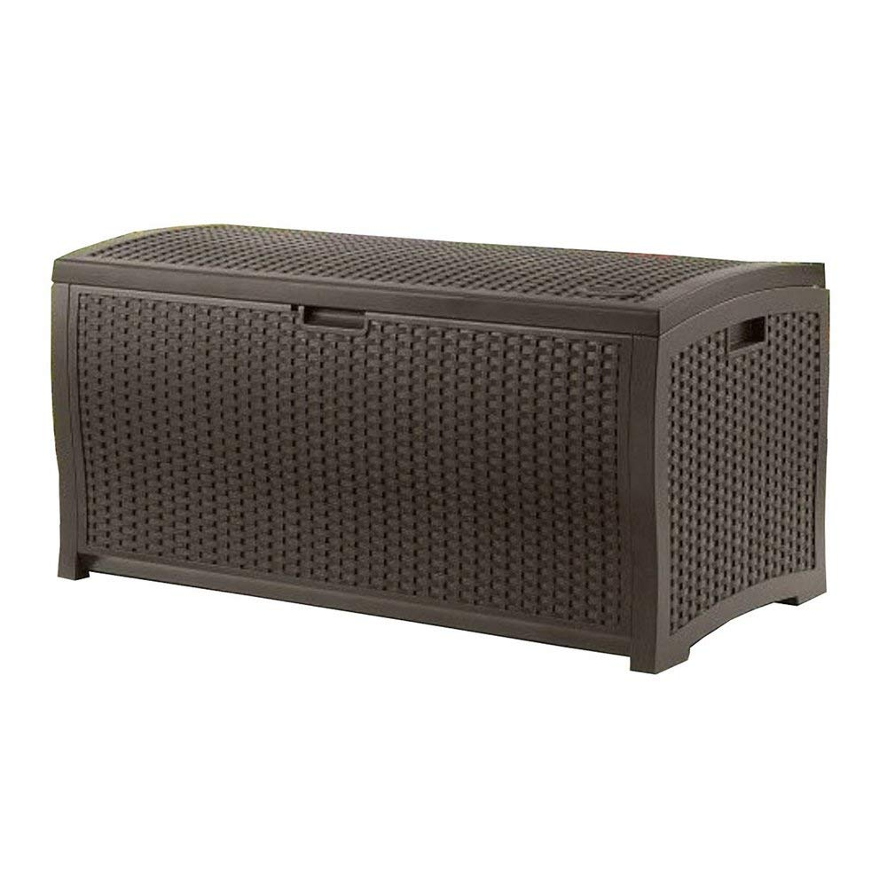 Get Quotations Outdoor Wicker Storage Box Garden Pool Patio Furniture Plastic Deck Container Brown And