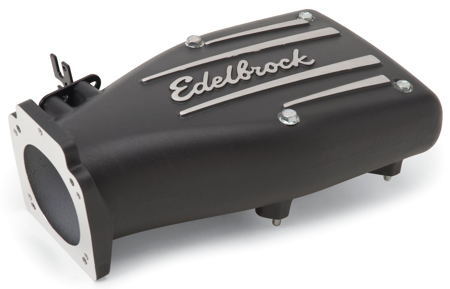 Edelbrock 38513 Throttle Body Intake Elbow Black Powder Coated GM LS1/LS2/Ford 5.0L 90mm Throttle Body To Square-Bore Flange Sideways Mount Box Style [Available While Supplies Last] Throttle Body Intake Elbow