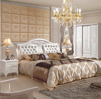 Cream Colored Wood Home Furniture Fancy Bedroom Set