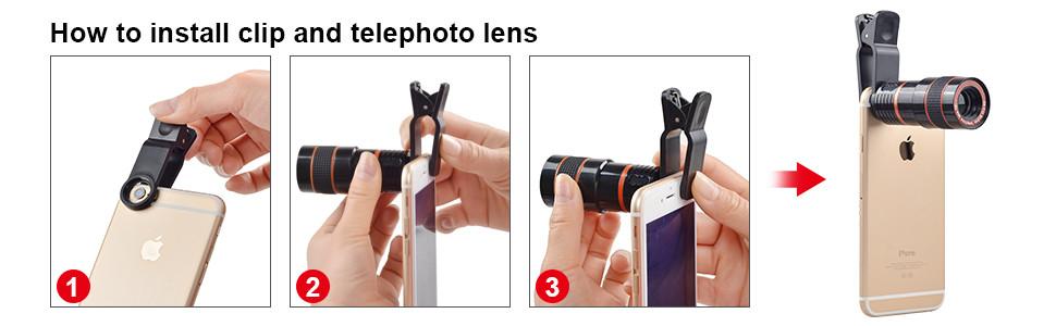 Điện thoại di động điện thoại thông minh kính thiên văn 8x ống kính zoom điện thoại di động máy ảnh ống kính