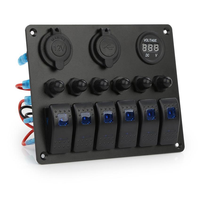 กันน้ำ 3/4 Gang/6 Gang วงจร LED รถเรือ Marine Rocker Switch แผงฟิวส์ Dual USB + ซ็อกเก็ต Breaker