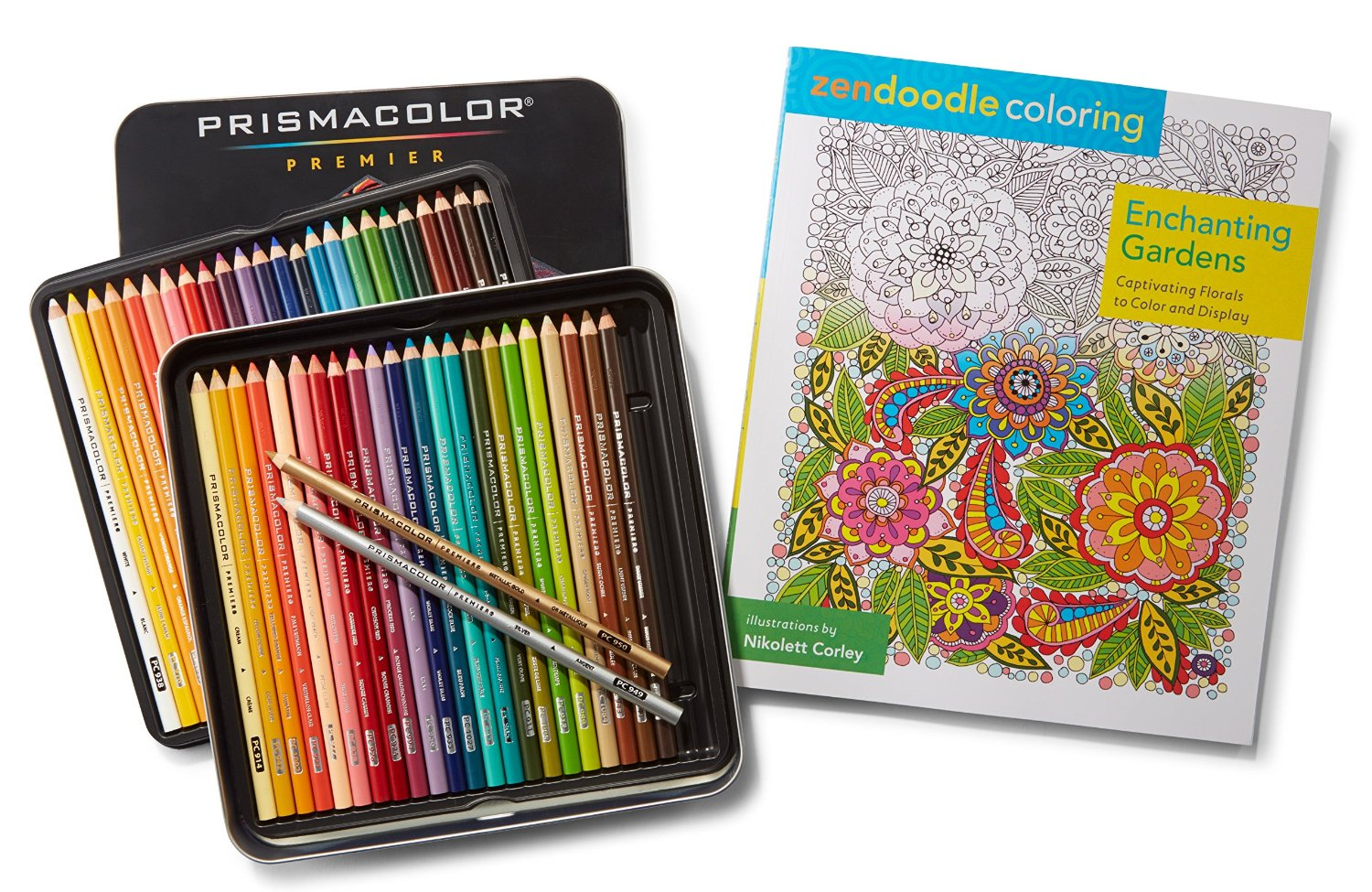 Prismacolor Premier Colored Pencils, Soft Core, 48 Pack and Adult Coloring Book (Zendoodle Enchanting Gardens)