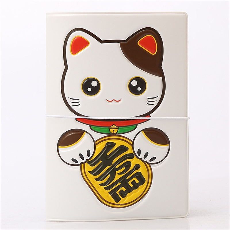 14*9.6CM PVC Leather Cartoon Fortune cat ID Card Bag Credit Card Holder,Travel 3D Business Porte Carte Simple Passport Cover