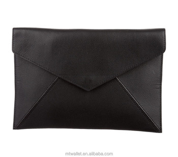 Black leather envelope clutch with snap closure at front flap