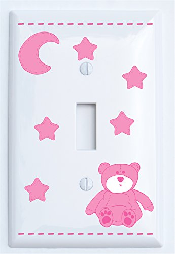 Pink Teddy Bear Light Switch Plate Single Toggle Covers with Pink Moon and Stars / Teddy Bear Nursery Decor (Single Toggle)