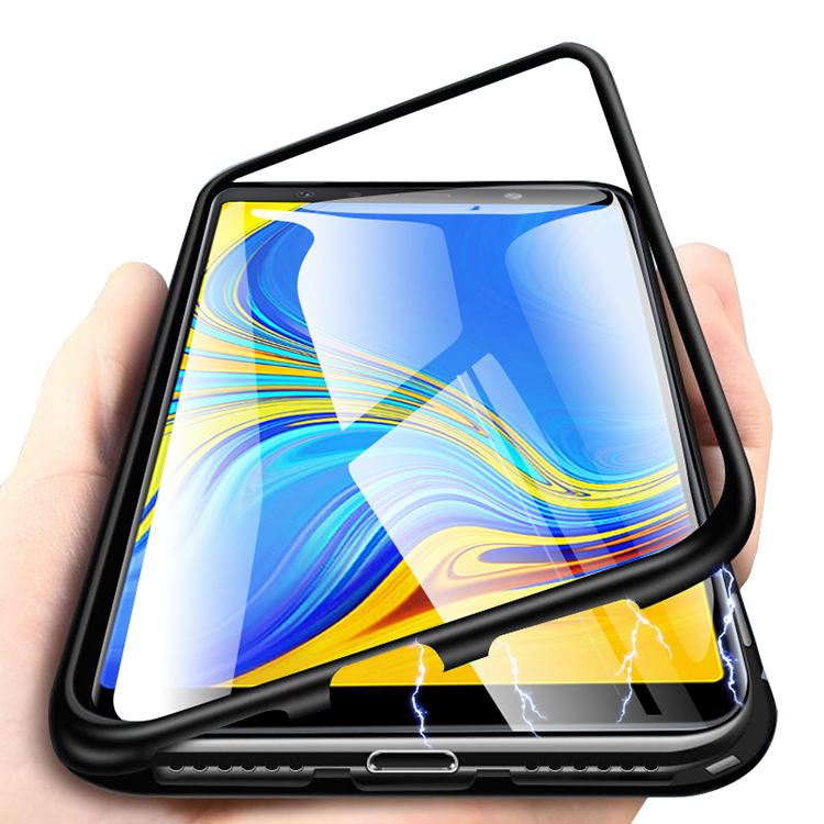 Magnetic Clear Metal 360 Glass Case For Samsung J4 J6 J8 2018 case cover for Samsung J4 2018, Clear black/clear silver/clear red