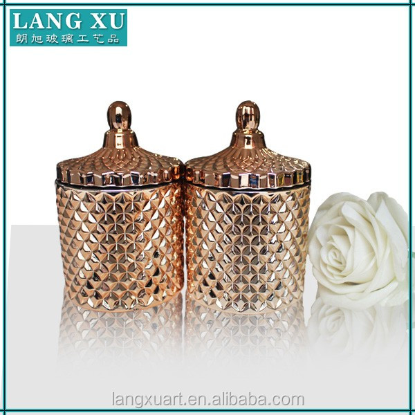 Lx T066 Diamond Pattern Empty Candle Jar With Lid Glass