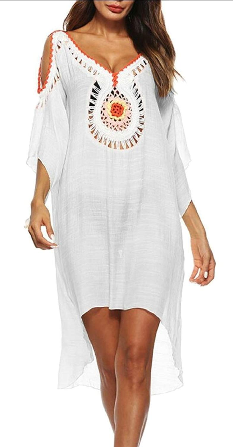 3732e1d63f0b4 Get Quotations · GAGA Women's Crochet Bohemian Beachwear Cover up Top Tunic  Shirt Chiffon Dress