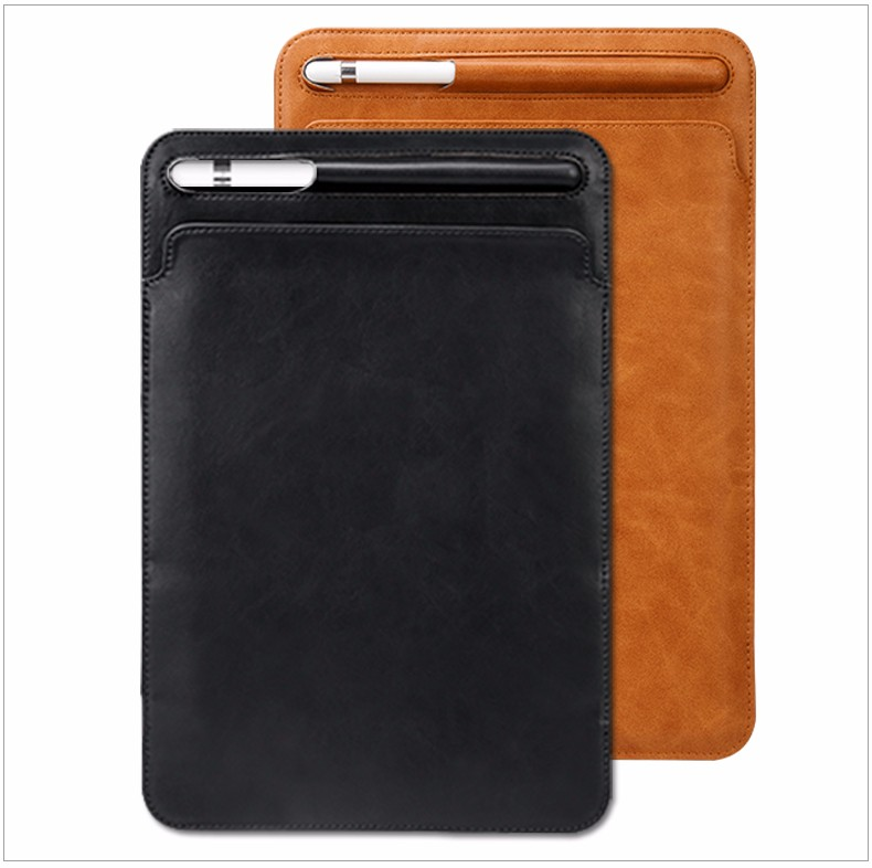 2018 New Model Premium Leather for iPad Case with Pencil Slot for iPad Pro 12.9 Case Black and Brown Color