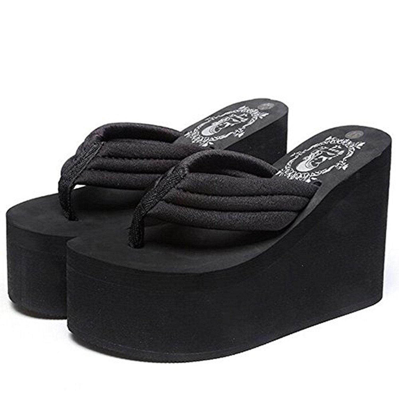 eef759ed792fa Get Quotations · Women s Wedge Sandals Platform High Heels Thong Flip Flops