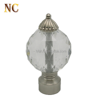 Wholesale Beautiful Decorative Crystal Glass Ball Curtain Finials For Rod End Caps