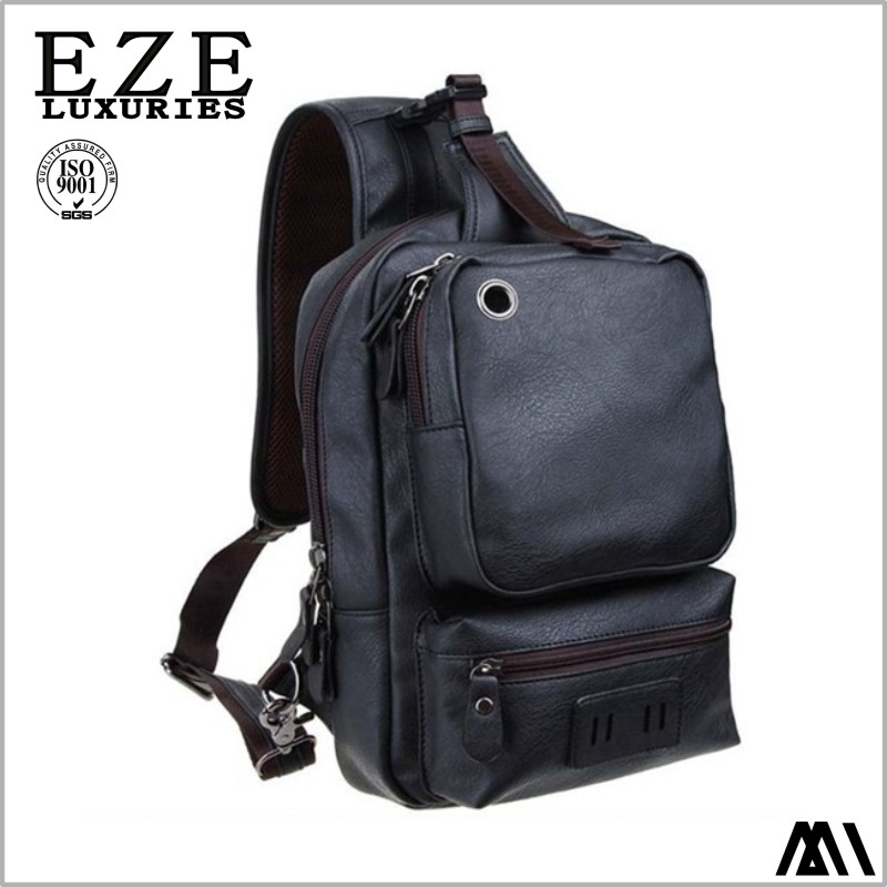 Retro PU Leather Men's chest bag