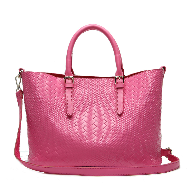 Genuine Leather Handbag for Women Real Cowhide Composite Bags 2015 Fashion New Knitting Print Leather Shoulder Bags KD03