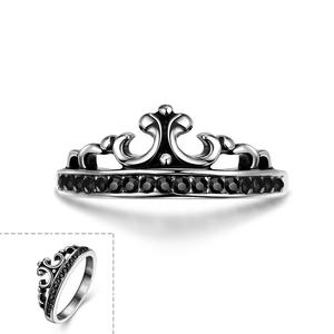 Tryme High Quality Vntage 316L Stainless Steel Ring Crown Inlay Stone Rings for Men Fashion Jewelry Black Rhinestone Men's Ring