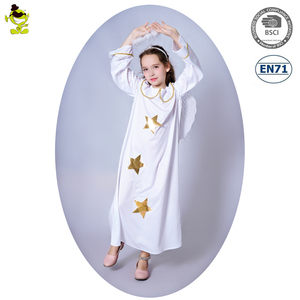 White Angel Costumes with Golden Star Girls Carnival Party Pretty Little Helper Fancy Dress Kids Adorable Goddess Decoration Set