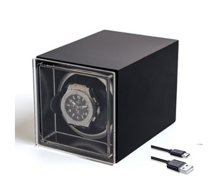 DEHAUS Automatic Single Watch Winder with Quiet Motor In Black Leather