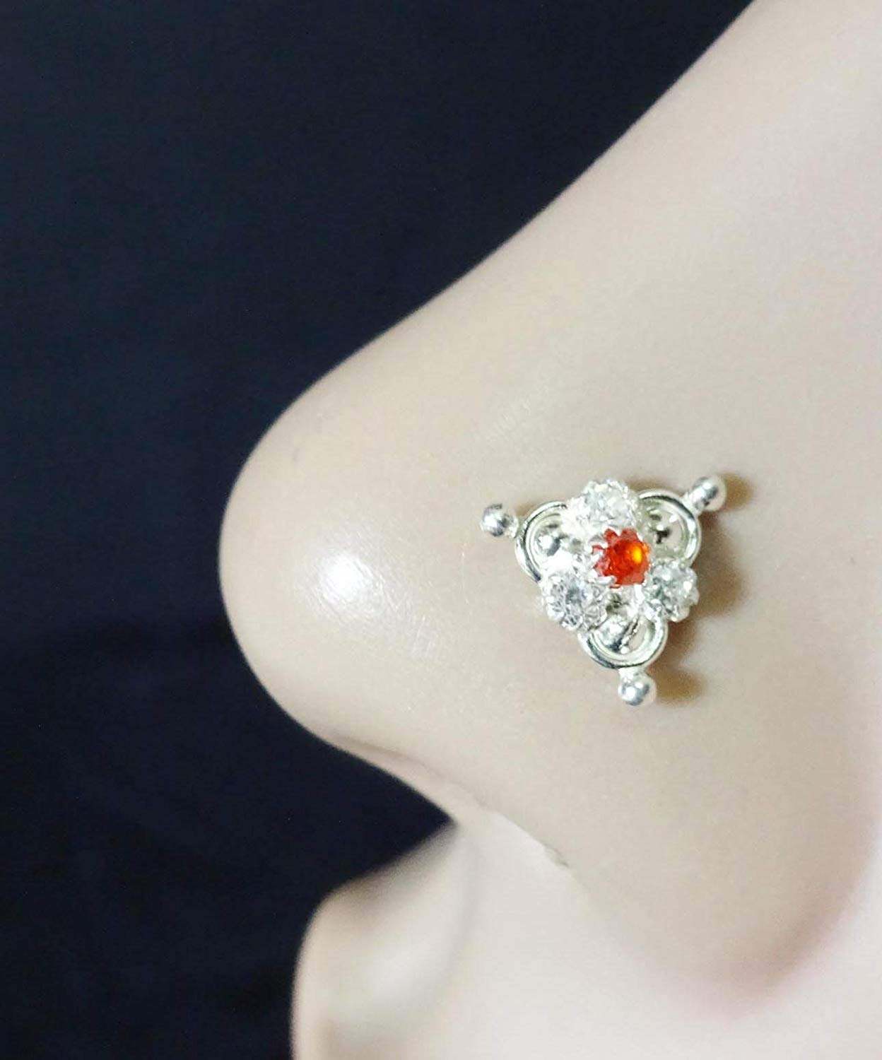 Silver Diamond Piercing,Orange Stone Nose Stud,Silver Nose Cuff,Monroe Nose Ring,Tiny Gold Piercing,Wedding Nose Screw,CZ Clear Nose Stud,Crock Screw Nose Stud,Indian Nose Stud(TEJ747)
