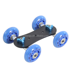YELANGU L2 Lightweight DSLR Camera Dolly Slider Track Skater Table Mini Dolly with Black and Blue