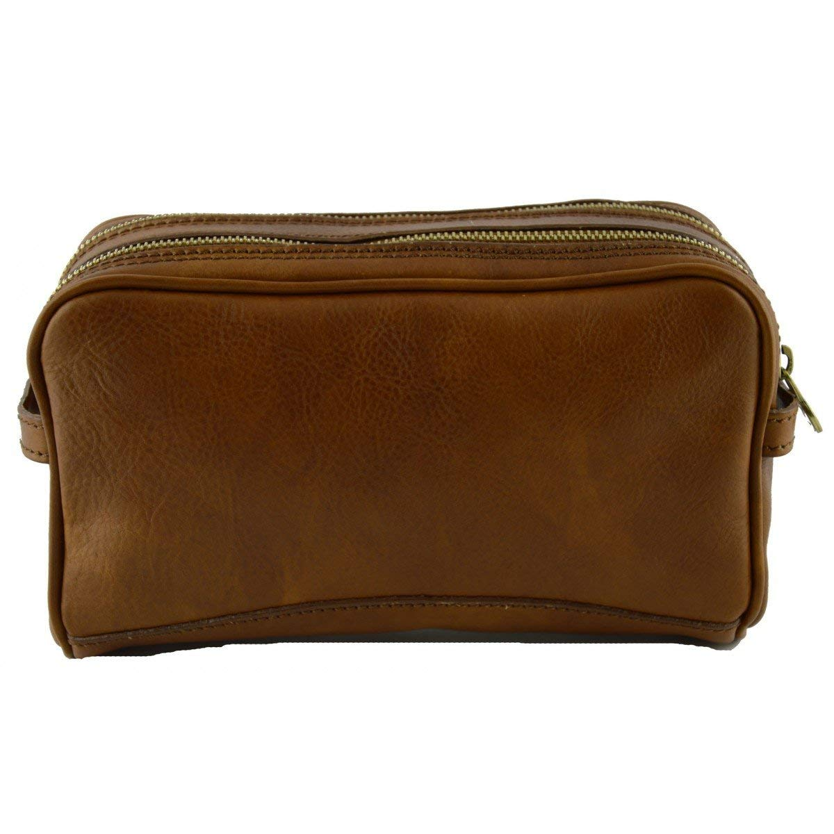Dream Leather Bags Made in Italy Genuine Leather Vegetable Tanned Leather Wash Bag Color Tan