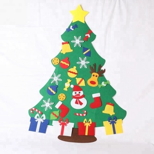 Wholesale Hot Sale Custom Eco-friendly Decoration Felt Material Merry Christmas Tree with Ornaments Set