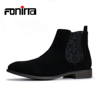 British Style Suede Chelsea Ankle Boots Men Black Casual Martin Boots