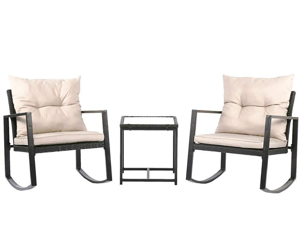 Homejoys New Outdoor 3PC Rattan Patio Furniture Sets Rocking Wicker Bistro Set For Yard & Outdoor 3 PC Rocking Chair Rattan Wicker Set Patio Furniture Garden Yard Bistro & Outdoor Rattan Wicker Patio