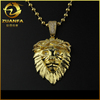 gold plated micro pave lab diamond iced out mens sterling silver lion pendant