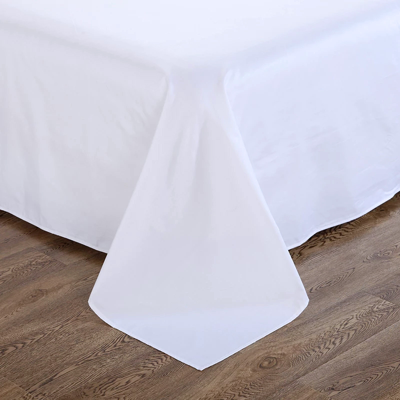 C5 Queen Size Bedding Set 300T 100% Cotton White Hotel Bed Sheet