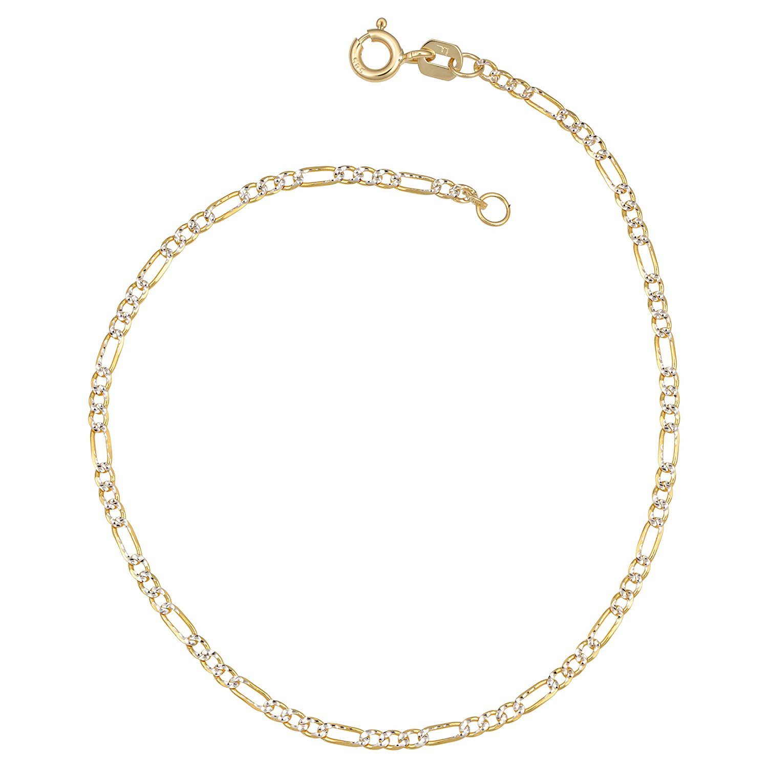 Precious Stars 14k Two-Tone Gold 3.7-mm White Pave Stamped Figaro Chain Necklace