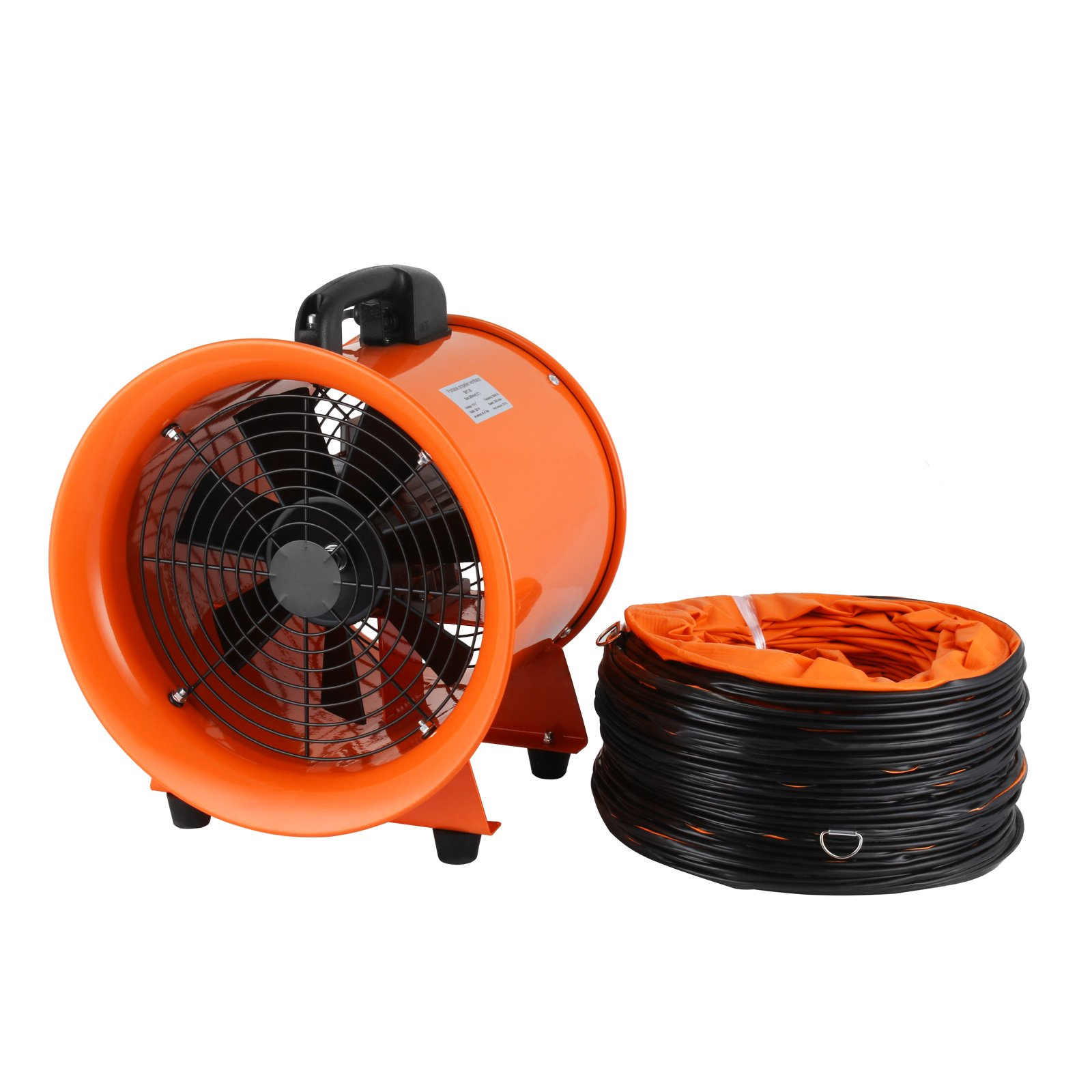 OrangeA Utility Blower 12 Inch 0.7HP 2295 CFM 3300 RPM Portable Ventilator High Velocity Utility Blower Fan New Style Stand Ventilator Fume Extractor with 5M Duct Hose