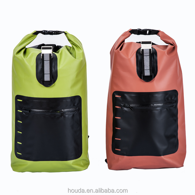 New Design Green/Red Color Waterproof Dry Backpack with Shoulder Strap for Outdoor Use