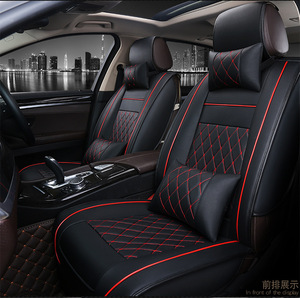 Top Quality 3D Fashion PU Leather Full Set Car Seat Cover for Car Seat Protector with Black and red line color