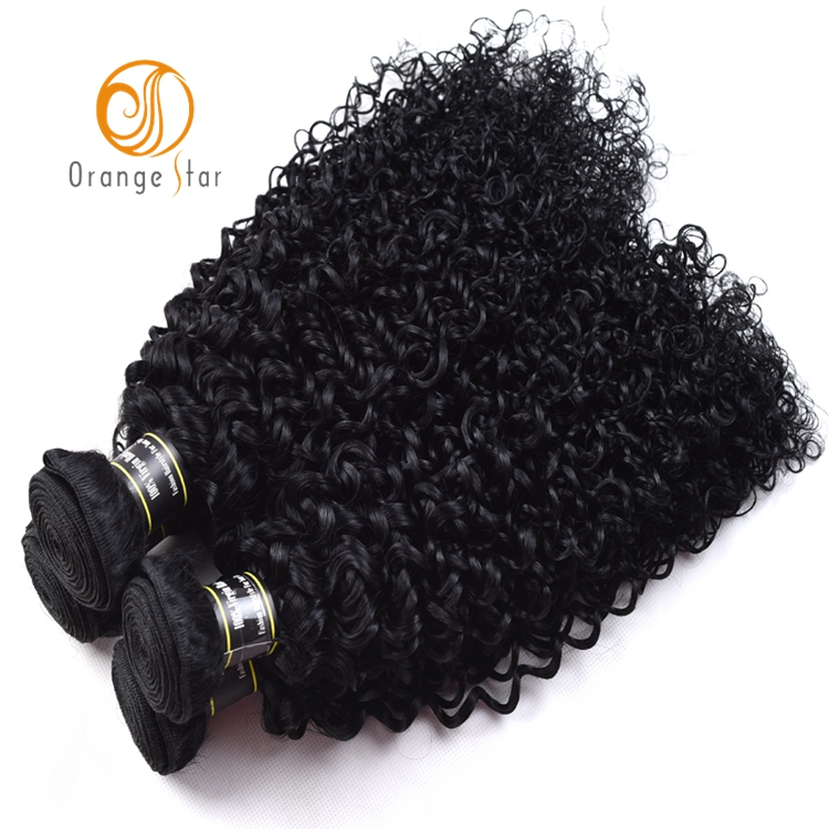 Wholesale Jet Black Curly Human Hair Extensions Natural Color Jerry Curl Peruvian Human Hair