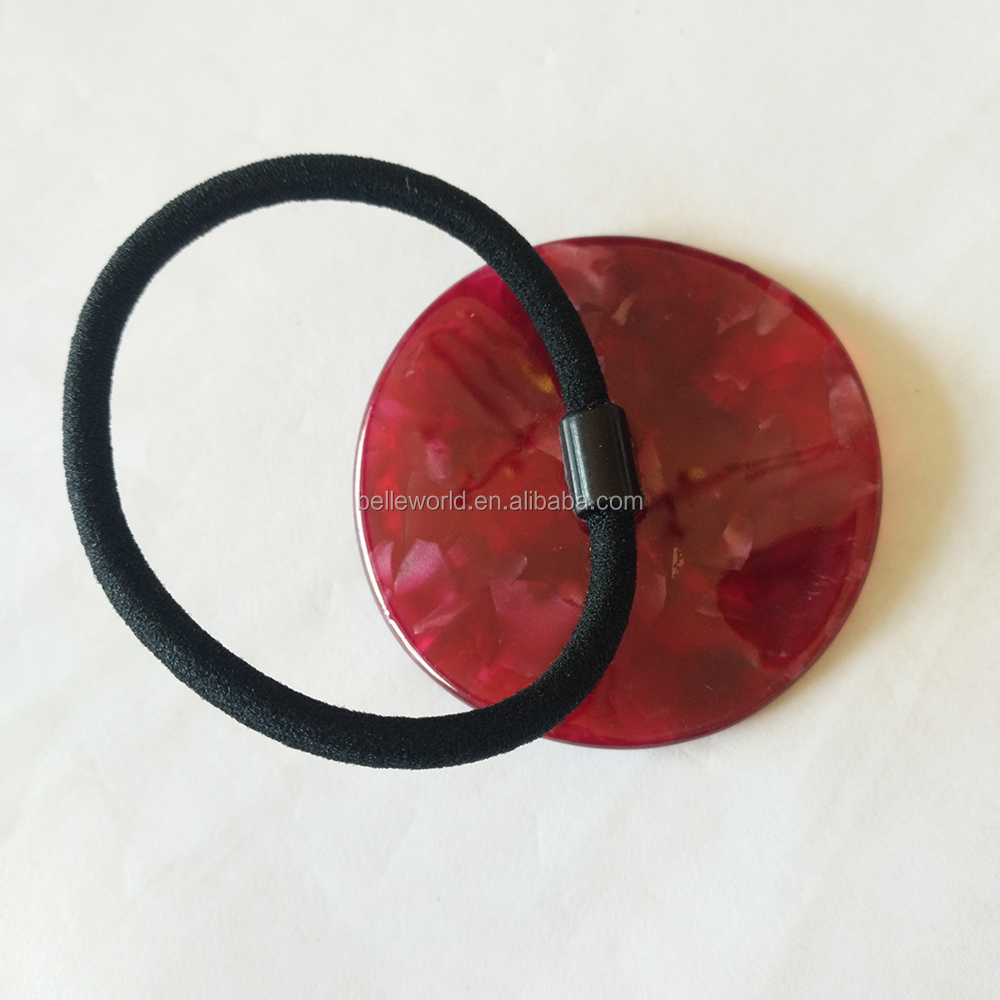 Good quality wine red acetate custom color elastic hair rubber band for women