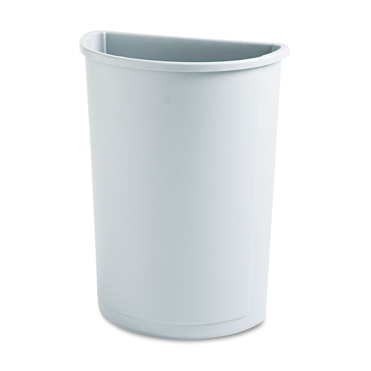 Rubbermaid Commercial 352000GY Untouchable Waste Container Half-Round Plastic 21gal Gray