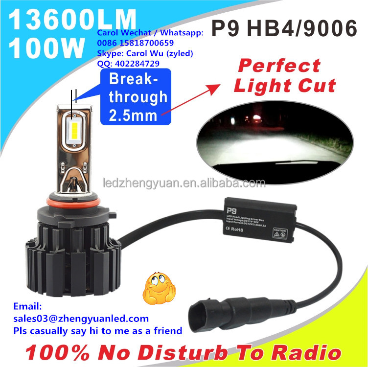 LOVE 100% Brightest 100 watt 13600lm P9 New pk h4 12v 55w led hb4 10000 lumen led headlight car light s2 electric kits cars 24v