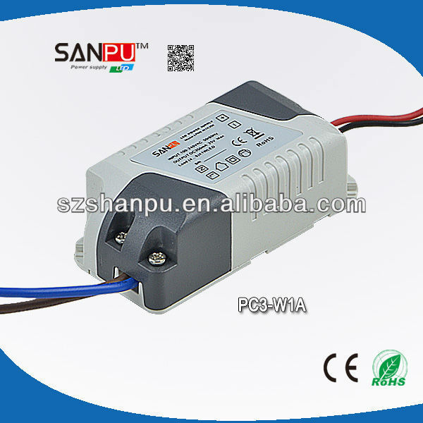 china manufacturer export 3W 350mA constant current limiting switching power supply used for led lighting,