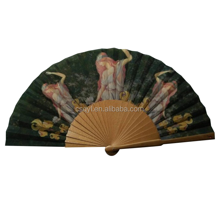 Factory supply custom printed wooden fan for ladies