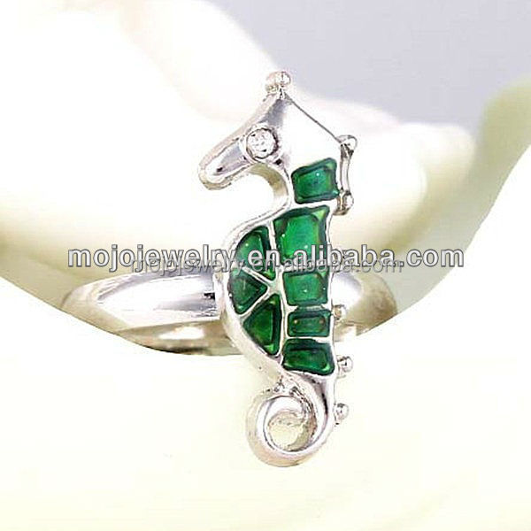Safe Material Varied Colors Cute and Lovely Sea Horse Shape Women Jewelry Ring for Retailer