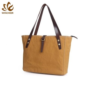 Wholesale simple shoulder women zipper handbag waxed wholesale tote bags canvas bag