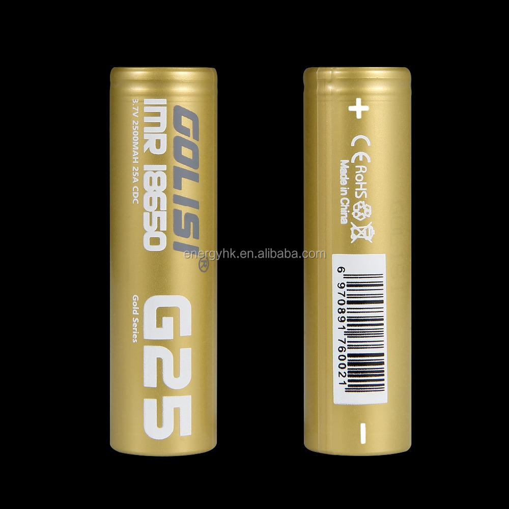 Golisi G25Manufacture directly selling 18650 li ion batteryrechargeable 3.7v cylinder lithium ion battery cells