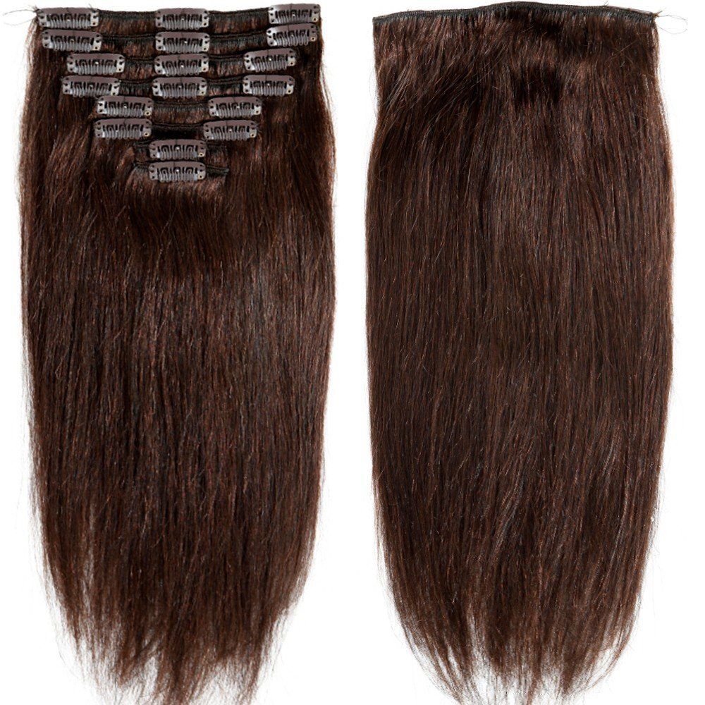 """S-noilite® 70g-120g 10"""" 13"""" 16"""" 18"""" 20"""" 22"""" 24 Inch Standard Weft Full Head Set Clip on 100% Remy Human Hair Extensions Grade 5A For Beauty 8 Pieces 18 Clips(#2 Dark Brown 10 Inch 70g)"""