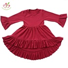 wholesale solid cotton ruffle sleeve party dress baby cute ruffle bottom girl dress