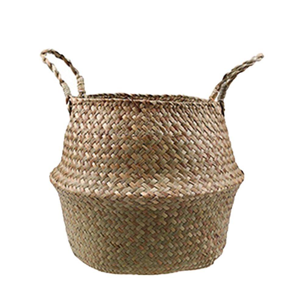 JINBEST Foldable Rattan Basket Woven Seagrass Tote Belly Basket Flower Pot Wicker Storage Basket (M)