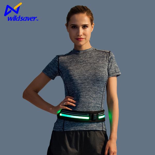 2019 new design mini double Pocket Waist Bag outdoor sports led Fanny pack